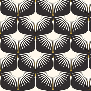 "Art Deco Swans 7"" Fabric, 6"" Wallpaper Wingspan"