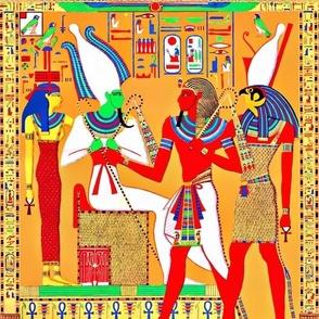 ancient egypt egyptian pharaoh gods goddesses kings hieroglyphics Osiris Hathor Horus Throne  Ankh colorful scarab beetle wings Athyr falcon bird yellow red green orange blue crowns offerings royalty tribal crook flail