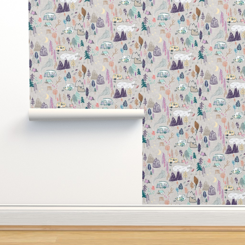 Isobar Durable Wallpaper featuring Happy Camper (peachy) MED  by nouveau_bohemian
