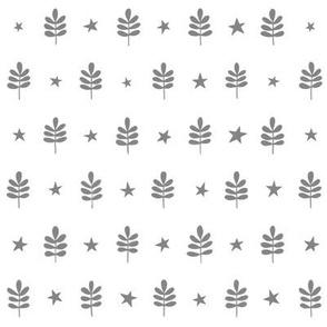 Leaf Star Pattern Gray on White