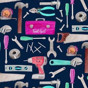 Tool Girl (navy) pink green coral mint, Kids Room Bedding