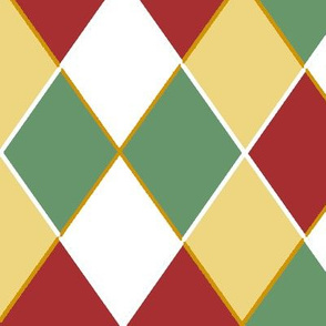 Christmas Argyle Red White and Green Checkerboard