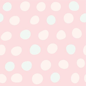 Hand Drawn Polka Dots in Pink and Mint