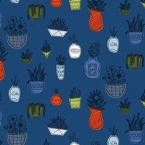 Potted Plants and Succulents in Blue