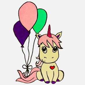 Unicorn with balloons PILLOW size