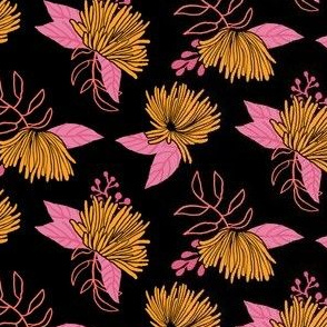 Spider Mums in Coral and Mustard Yellow