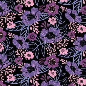 Hellebores and Cosmos in Purple on Black