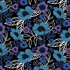 Hellebores and Cosmos in Blue and Purple on Black