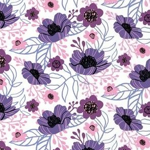 Hellebores and Cosmos in Purple on White