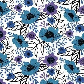 Hellebores and Cosmos in Blue and Purple on White
