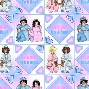 Baby Nicky Girl and Boy and It's A Girl! It's A Boy! Squares Fabric