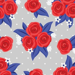 Polka Roses (Red, White and Blue)