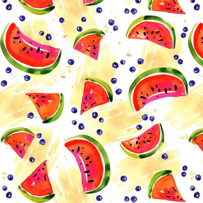 slices of watermelon and blueberries