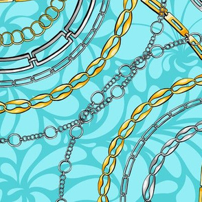 Chains on damask flat vector seamless pattern