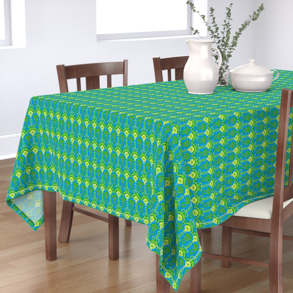 Bantam Rectangular Tablecloth featuring HP10 - Hovering Alien Puppies in Green - Yellow - Turquoise by maryyx