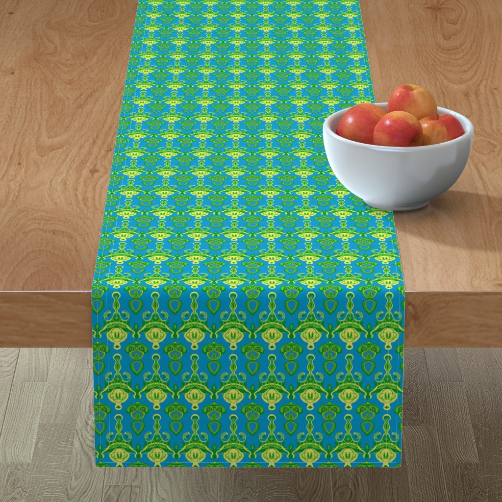 Minorca Table Runner featuring HP10 - Hovering Alien Puppies in Green - Yellow - Turquoise by maryyx