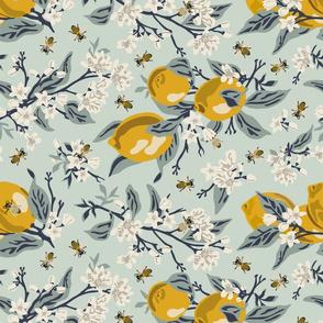 Bees & Lemons - Mint - ROTATED