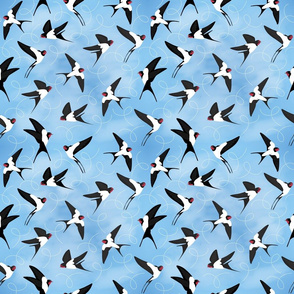 Swallows in the sky - Blue - Big scale