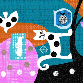 polka dot cat and friends