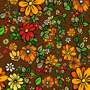 70s Retro Flowers on Brown