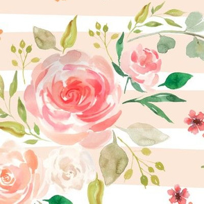 Watercolor Floral (blush stripe) Peach Blush Pink Blooms