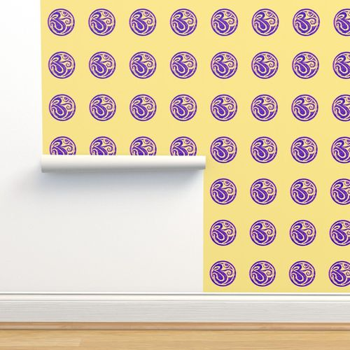 Wallpaper Om Sign Blockprint Purple On Primrose