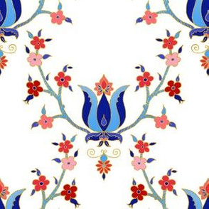 tulip and forget me nots - red white and blue