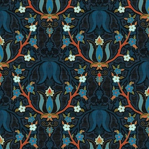 tulip and forget me nots -slate blue