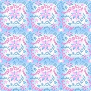 Baby Intricate Pink & Blue Stars Fabric