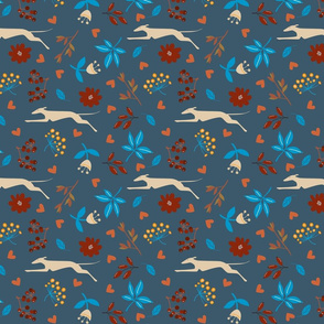 Folkloric greyhound and hare