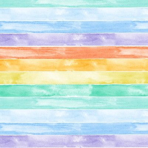 (small scale) watercolor rainbow stripes C19BS