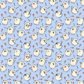 Drumstick Juggling Pugs - periwinkle