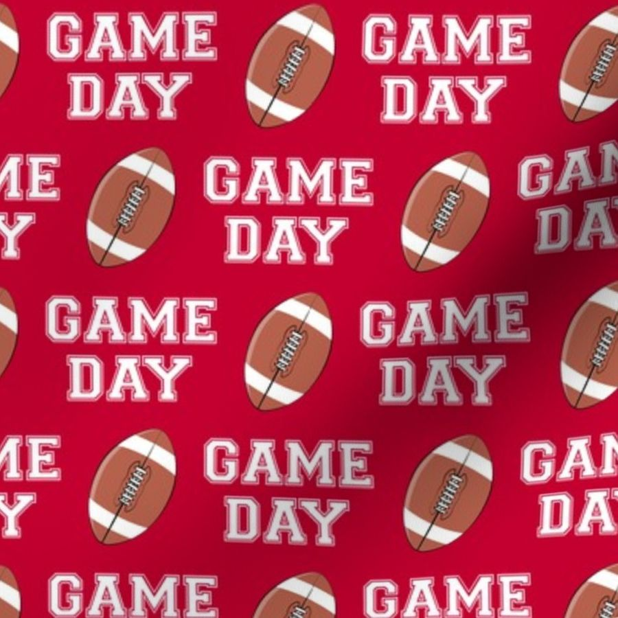 Fabric by the Yard GAME DAY - red - college football - LAD19