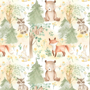 "12"" Woodland Animals - Baby Animals in Forest light background"