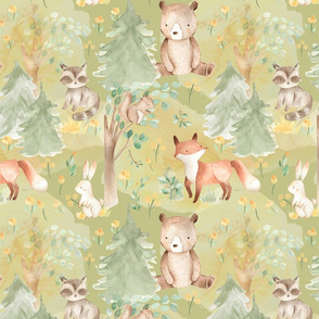 "12"" Woodland Animals - Baby Animals in Forest green background"