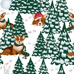 "7"" Corgi Dogs in snowy winter forest -white"