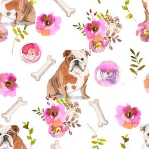 "10"" bulldog dog summer flower fabric, bulldog fabric, animal fabric"