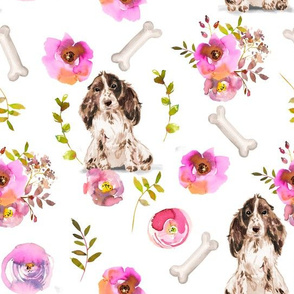 "10"" Spaniel dog summer flower fabric, Spaniel fabric, animal fabric"