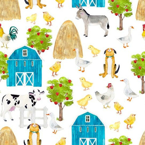 "10"" Nursery Farm Animals on white, animals fabric, farm fabric"