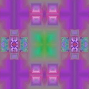 Bright Purple and Green Fractal Tiles