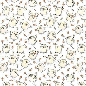 Drumstick Juggling Pugs - white