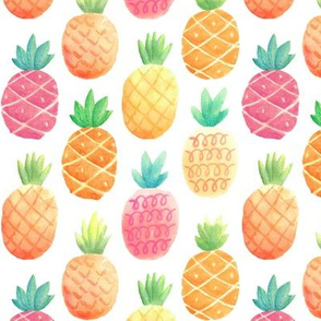 Watercolor Pineapples - SMALLER scale