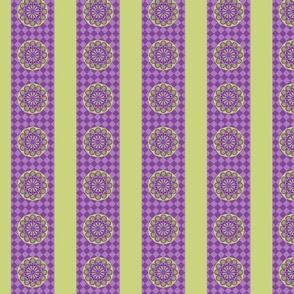 Purple and Green Flowers and Stripes