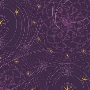 ★ COSMOS ★ Dark Purple and Yellow  - Small Scale / Collection: Cosmic Trip – Space Geometric Prints