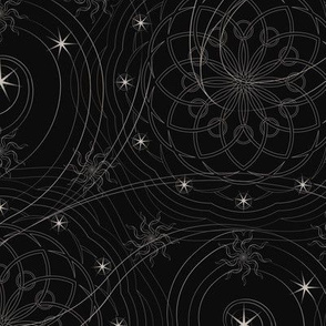 ★ COSMOS ★ Black and White - Small Scale / Collection: Cosmic Trip – Space Geometric Prints