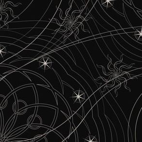 ★ COSMOS ★ Black and White - Large Scale / Collection: Cosmic Trip – Space Geometric Prints