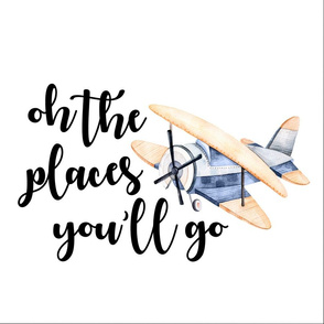 18 inch Oh the places you'll go//Retro Airplane - WITH GUIDES