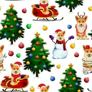"7"" Corgi Dogs and snow man decorate the christmas tree-white"