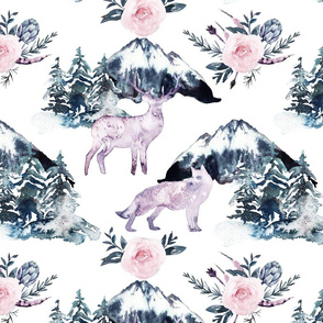 "13"" Boho Watercolor Wild Animals in the North"