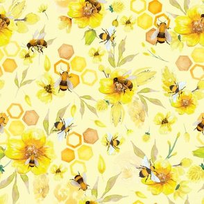 "12"" What a busy day - bees at work - watercolor hand drawn bee and yellow flowers"
